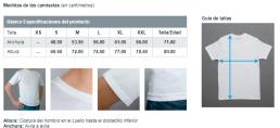 Medidas de las camisetas personalizadas con caricatura